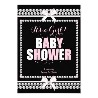 Sprinkle Baby Shower Girl Pink Pearls Black Card