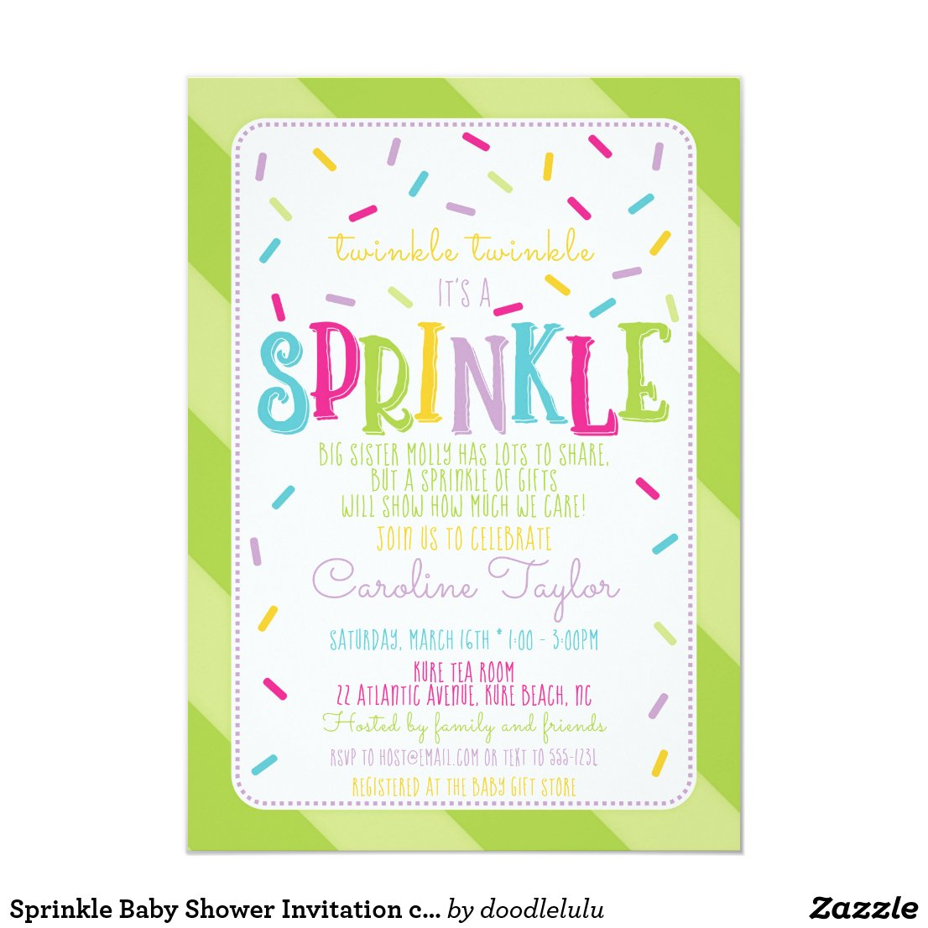Sprinkle Baby Shower Invitation card green