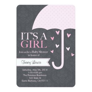 "Sprinkle-Baby Shower Invitation in Pink and Gray 5"" X 7"" Invitation Card"
