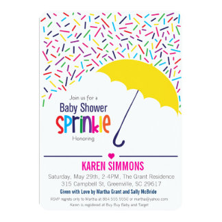 Sprinkle Baby Shower Invitation, Raining Umbrella 5x7 Paper Invitation Card