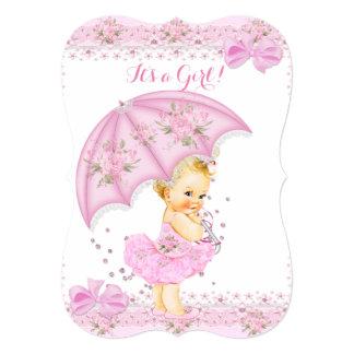Sprinkle Blonde Baby Shower Girl Floral Pink 5x7 Paper Invitation Card