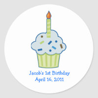 Sprinkle Cupcake 1st First Birthday Favor Stickers