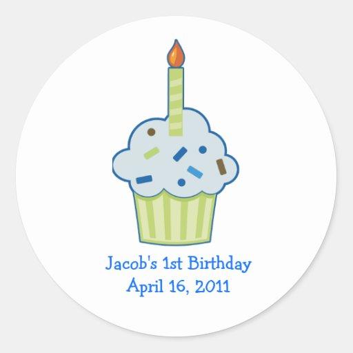 Sprinkle Cupcake 1st First Birthday Favor Stickers