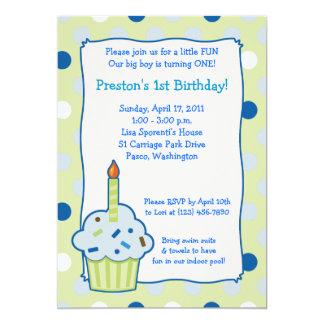 Sprinkle Cupcake 5x7 Boy 1st Birthday Invitation