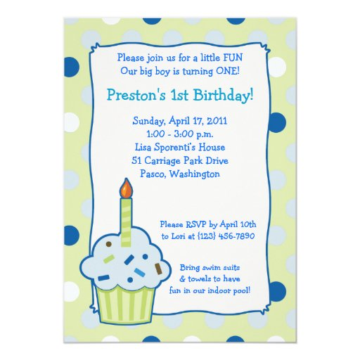 Sprinkle Cupcake 5x7 Boy 1st Birthday Invitation