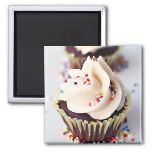Sprinkle Cupcakes 2 Inch Square Magnet