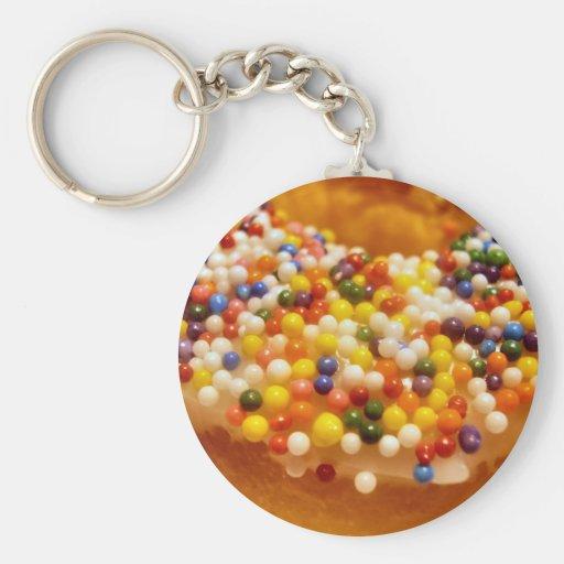 Sprinkle Donut Basic Round Button Keychain