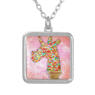 Sprinkled Unicorn Ice Cream Silver Plated Necklace