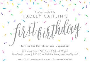Rainbow sprinkles invitations zazzle sprinkles first birthday invitation cute modern invitation filmwisefo