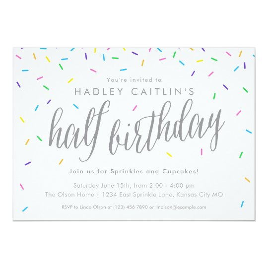 Sprinkles Half Birthday Invitation Cute Modern