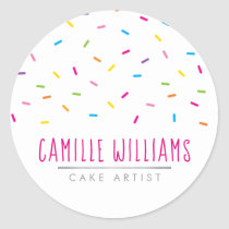 SPRINKLES modern cute patterned colorful party Classic Round Sticker