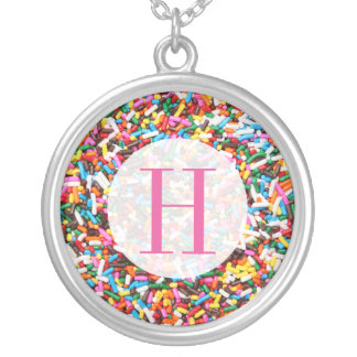 Sprinkles Monogrammed Round Pendant Necklace