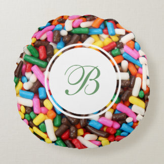 Sprinkles Monogrammed Round Pillow