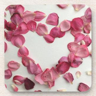 Sprinkling of rose petals coasters