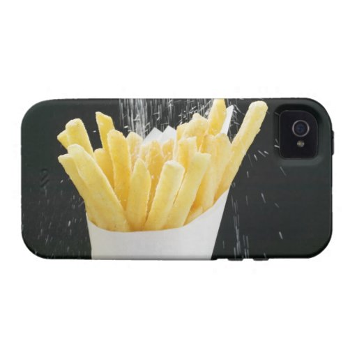 Sprinkling salt on chips in paper cone Case-Mate iPhone 4 cases