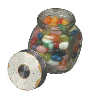 Sprinkly Donut Glass Jar