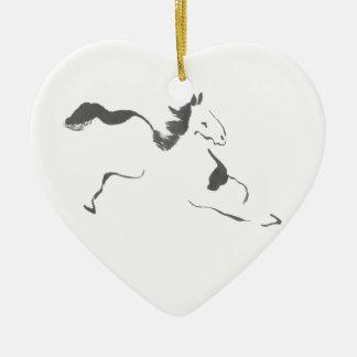 Sprint, a Galloping Horse, sumi-e Ceramic Ornament