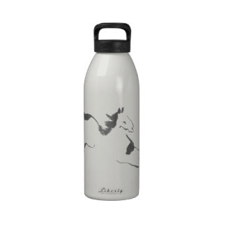 Sprint, a Galloping Horse, sumi-e Water Bottle