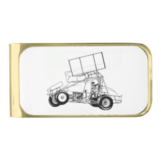 Sprint Car Gold Finish Money Clip
