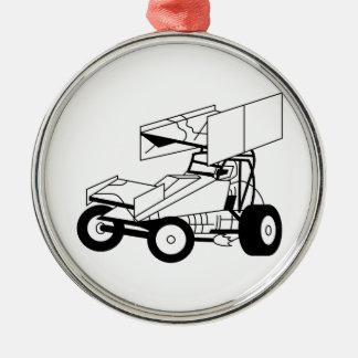 Sprint Car Outline Metal Ornament