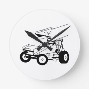 race car wall clocks zazzle 1967 Corvette Convertible sprint car outline round clock