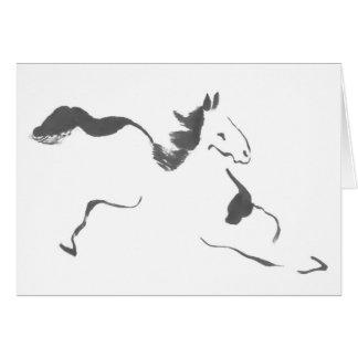 Sprint, un caballo galopante, sumi-e tarjeton