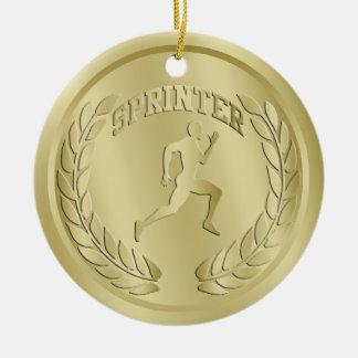 Sprinter Gold Toned Medal Ornament