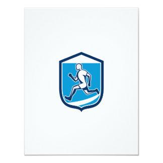 Sprinter Runner Running Shield Retro 4.25x5.5 Paper Invitation Card