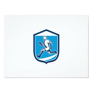 Sprinter Runner Running Shield Retro 6.5x8.75 Paper Invitation Card