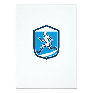 Sprinter Runner Running Shield Retro Card