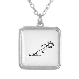 Sprinter Stickman Track and Field Silver Plated Necklace