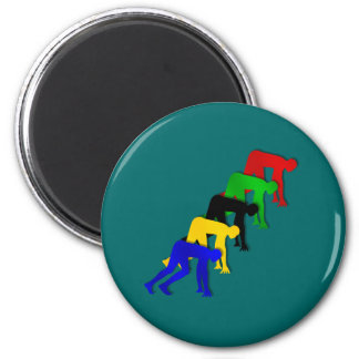 Sprinters on your marks get set go sprinting 2 inch round magnet