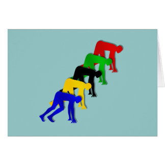 Sprinters on your marks get set go sprinting greeting card
