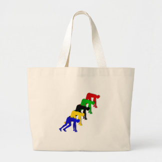 Sprinters on your marks get set go sprinting large tote bag