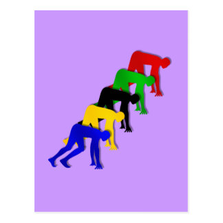 Sprinters on your marks get set go sprinting post card