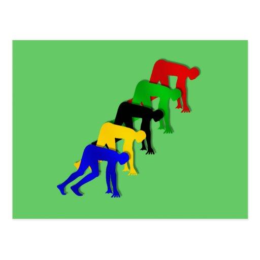 Sprinters on your marks get set go sprinting postcard