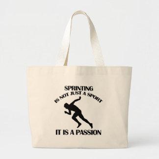 SPRINTING  sports designs Large Tote Bag