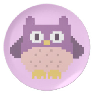 Sprite de 8 bits del búho del pixel platos de comidas