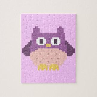 Sprite de 8 bits del búho del pixel puzzle con fotos