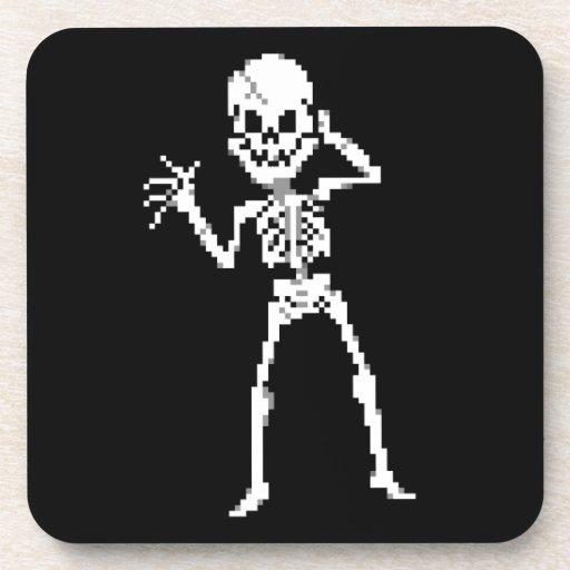 Sprite de 8 bits del esqueleto del pixel posavasos de bebidas