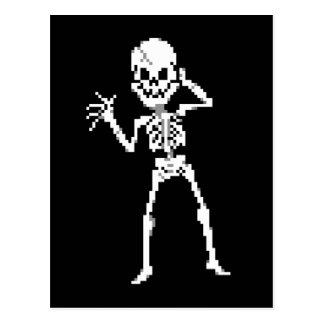 Sprite de 8 bits del esqueleto del pixel tarjeta postal