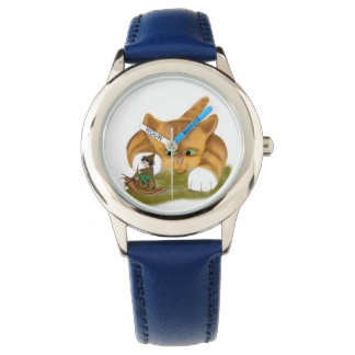 Sprite rides a Snail Past Kitty Wrist Watch
