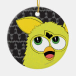 Sprite Yellow Furby Double-Sided Ceramic Round Christmas Ornament