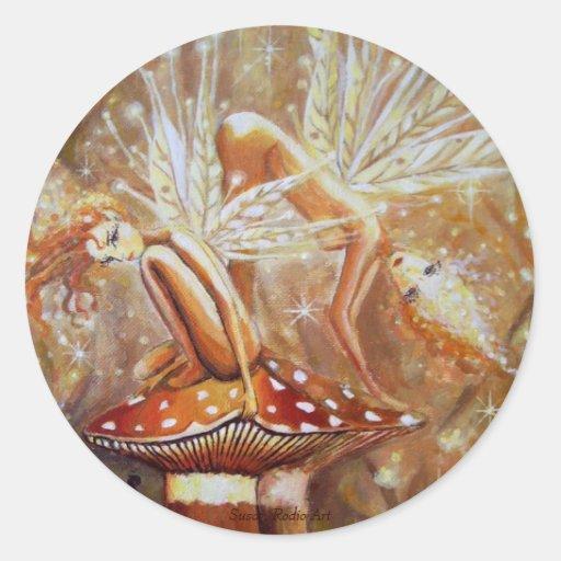 Sprites de la tierra - pegatinas de hadas del arte pegatina redonda