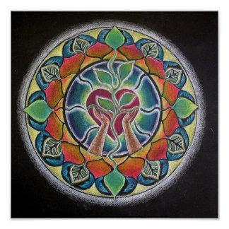 Sprouting Heart Mandala Poster