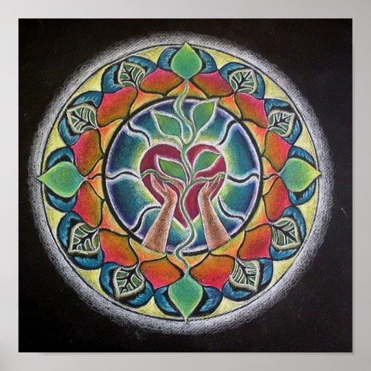Sprouting Heart Mandala Poster