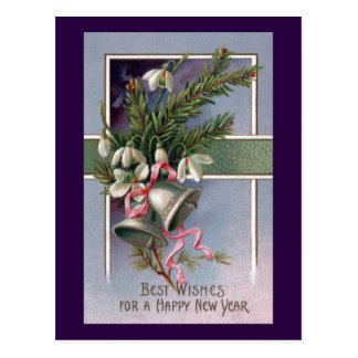 Spruce and Silver Bells Vintage New Year Postcard