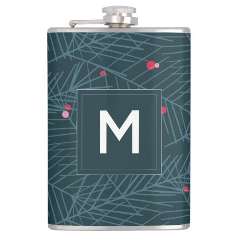 Spruce Foliage and Berries Monogram Custom Holiday Flask