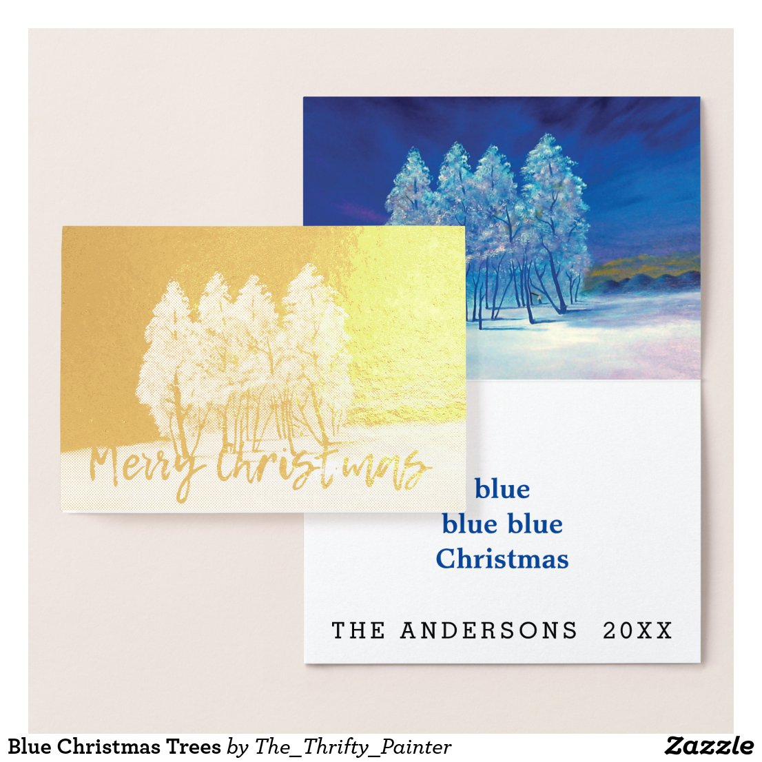 Spruce Pine Blue Christmas Trees Original Painting Foil Card