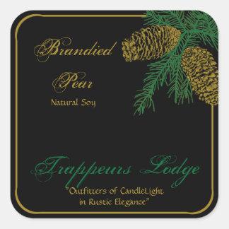 Spruce Pine Cone Candle Label Square Sticker